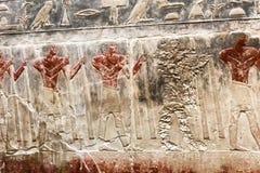 埃及象形文字和图画在墙壁和专栏上 埃及语言、古老神生活和人们 库存照片