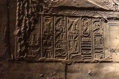 埃及象形文字和图画在墙壁和专栏上 埃及语言、古老神生活和人们 库存图片