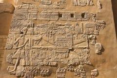 埃及象形文字和图画在墙壁和专栏上 埃及语言、古老神象形文字的生活和人们 库存图片