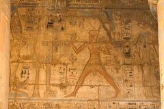 埃及象形文字和图画在墙壁和专栏上 埃及语言、古老神象形文字的生活和人们 图库摄影