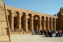 埃及, 2005年1月15日:在著名卢克索神庙的古老专栏,西比,联合国科教文组织世界遗产名录站点中的外国游人 免版税库存照片