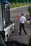 埃及, SHARM EL谢赫,旅馆的入口的炸药十分地检查的Sharm El谢赫汽车的 免版税图库摄影