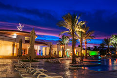 埃及, Sharm El谢赫, 2014年12月8日, hote的夜视图 免版税库存照片