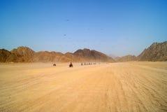 埃及, SHARM EL谢赫- 9月23,在方形字体的游览在沙漠 免版税库存照片