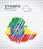 埃塞俄比亚与在白色背景隔绝的旗子里面的传染媒介地图 剪影白垩手拉的例证 库存例证