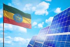 埃塞俄比亚可选择能源,与旗子工业例证-战斗的标志的太阳能概念与全球性变暖,3D的 库存例证