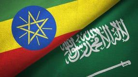 埃塞俄比亚和沙特阿拉伯旗子纺织品布料 向量例证