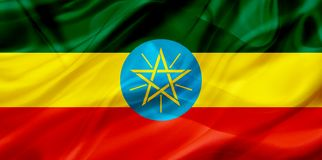 埃塞俄比亚在丝绸或柔滑的挥动的纹理的国旗 库存例证
