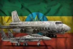 埃塞俄比亚在状态旗子背景的空军概念 3d?? 向量例证