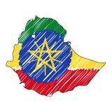 埃塞俄比亚地图手拉的剪影 传染媒介概念例证旗子,儿童的图画,杂文地图 国家地图为 向量例证