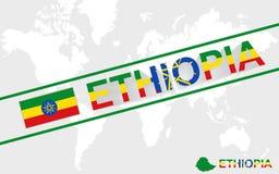 埃塞俄比亚地图旗子和文本例证 库存例证
