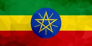 埃塞俄比亚多角形旗子 马赛克现代背景 设计几何 皇族释放例证