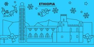 埃塞俄比亚寒假地平线 圣诞快乐,新年快乐装饰了与圣诞老人的横幅 线性的埃塞俄比亚 库存例证