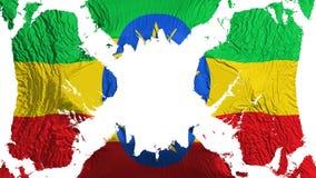埃塞俄比亚振翼在风的被撕毁的旗子 皇族释放例证