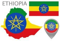 埃塞俄比亚旗子、地图和地图尖 皇族释放例证