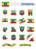 埃塞俄比亚旗子传染媒介集合 向量例证