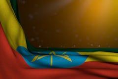 埃塞俄比亚旗子在黄色背景的位置对角线与bokeh和文本的-任何场合旗子自由地方的好的黑暗的例证 皇族释放例证