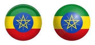埃塞俄比亚旗子在3d圆顶按钮下和在光滑的球形/球 库存例证