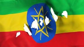 埃塞俄比亚旗子穿孔了,弹孔 向量例证