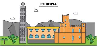 埃塞俄比亚概述城市地平线,线性例证,横幅,旅行地标 库存例证