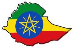 埃塞俄比亚概述被简化的地图,与有一点弯的旗子unde 皇族释放例证