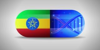 埃塞俄比亚的全国配药的例证 药物生产在埃塞俄比亚 埃塞俄比亚的国旗胶囊的与 皇族释放例证