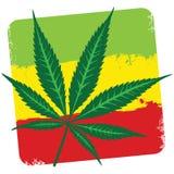 埃塞俄比亚的叶子大麻(大麻)和旗子在wh隔绝了 皇族释放例证