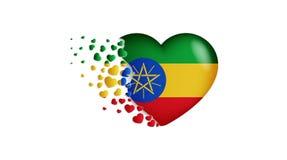 埃塞俄比亚的国旗心脏例证的 充满对埃塞俄比亚国家的爱 埃塞俄比亚的国旗飞行小心脏 皇族释放例证
