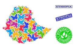 埃塞俄比亚的地图保存自然拼贴画有蝴蝶和难看的东西水印的 库存例证