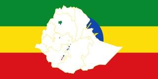 埃塞俄比亚的地图和旗子 向量例证