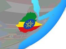 埃塞俄比亚的地图有旗子的在地球 皇族释放例证