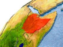 埃塞俄比亚的地图红色的在地球 皇族释放例证