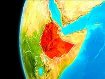 埃塞俄比亚的地图红色的 皇族释放例证