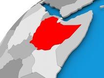 埃塞俄比亚的地图红色的 库存例证