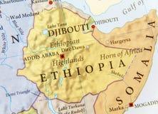 埃塞俄比亚的地理地图有重要城市的 图库摄影