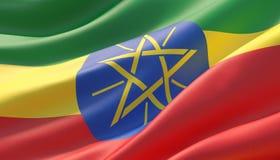 埃塞俄比亚的挥动的高度详细的特写镜头旗子 3d?? 皇族释放例证