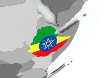 埃塞俄比亚的旗子地图的 向量例证