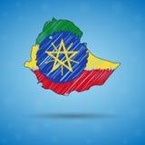 埃塞俄比亚的杂文地图 剪影infographic的国家地图,小册子和介绍,风格化略图  皇族释放例证