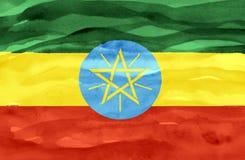 埃塞俄比亚的被绘的旗子 向量例证