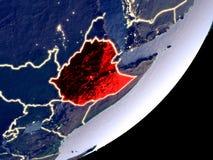 埃塞俄比亚的轨道视图在晚上 库存例证
