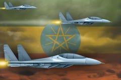 埃塞俄比亚空军触击概念 空中飞机在埃塞俄比亚旗子背景攻击 3d?? 库存例证