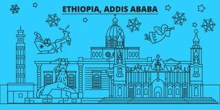 埃塞俄比亚,亚的斯亚贝巴寒假地平线 圣诞快乐,新年快乐装饰了与圣诞老人的横幅 库存例证