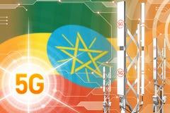 埃塞俄比亚5G工业例证、巨大的多孔的网络帆柱或者塔在数字背景与旗子- 3D例证 库存例证