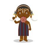 从埃塞俄比亚Mursi部落的字符穿戴了用传统方式 库存例证
