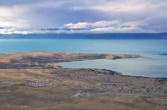 埃尔卡拉法特顶视图 在天空的晚上日落自然风景不可思议的梦想的云彩在巴塔哥尼亚 免版税库存照片