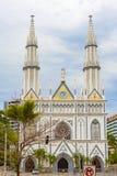 埃尔卡门教会门面通过Espania, El Cangrejo,巴拿马 免版税库存照片