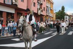 埃尔帕索,西班牙- 2018年8月18日:Fiesta皮诺del Virgen 库存图片