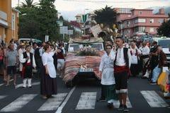 埃尔帕索,西班牙- 2018年8月18日:Fiesta皮诺del Virgen 库存照片