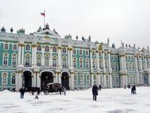 埃尔米塔日博物馆在冬天 免版税库存图片