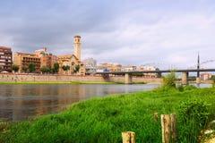 埃布罗在托尔托萨角,西班牙 库存照片